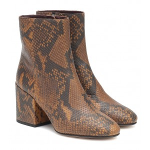 Dries Van Noten Snake-effect leather ankle boots P00482367 QMP8Odoh