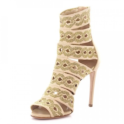 Casadei Sandals calfskin textile Embroidery beige gold online shopping IVAEQYF