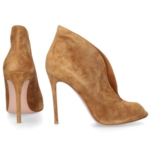 Gianvito Rossi Heeled Ankle Boots VAMP suede brown online shopping DEXQCAT