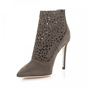 Jimmy Choo Ankle Boots calfskin nubuck perforated taupe online shopping GLCEZZI