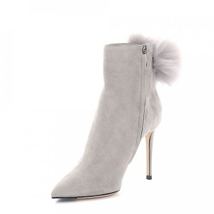 Jimmy Choo Ankle boots suede Fur upper Pompom grey online shopping YPCZAXZ