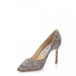 Jimmy Choo Pumps ROMY 85 leather gold lace silver online shopping JAENKXF