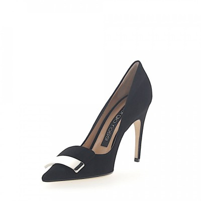 Sergio Rossi Heeled Pumps calfskin suede Logo Metal buckle black online shopping PDHFSZF
