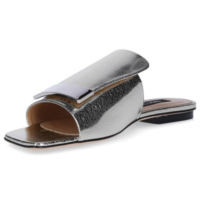 Sergio Rossi Sandals A80380 leather metallic gold finished silver plated online shopping FAPOKEF