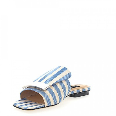 Sergio Rossi Sandals A80380 textile Metal buckle beige blue online shopping OSGYESS