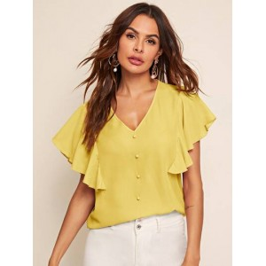 Button Front Butterfly Sleeve Solid Top  LWQQEQY