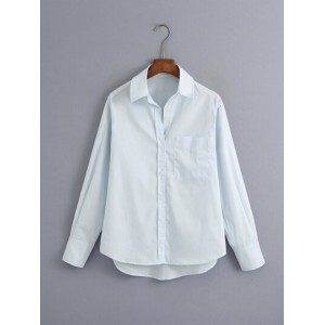 Button Through Pocket Front Blouse  LNOTFYY