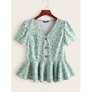 Buttoned Front Ditsy Floral Peplum Top  UAGTTFX