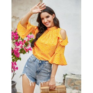 Ditsy Floral Cold Shoulder Ruffle Blouse  CCNTYYB