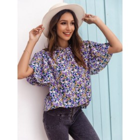Ditsy Floral Frill Neck Flutter Sleeve Blouse  LKUYCHE