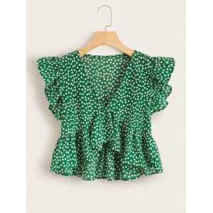Ditsy Floral Print Butterfly Sleeve Top  DOLEUAT
