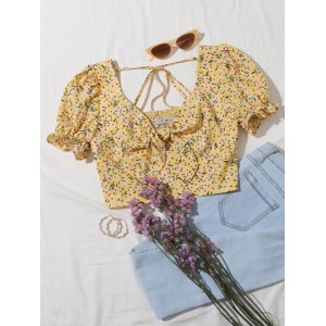 Ditsy Floral Tie Front Puff Sleeve Crop Top  SQUBNDM
