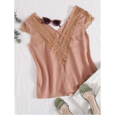 Embroidered Mesh Insert Top XSUQFFM