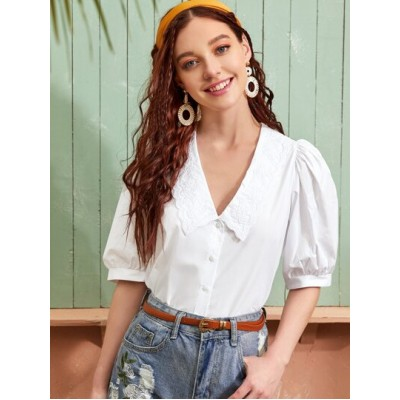 Embroidery Collar Puff Sleeve Blouse VQAVWVK