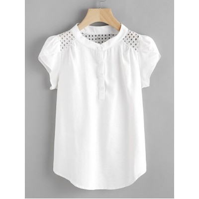 Eyelet Embroidered Panel Petal Sleeve Blouse MKGQQFR