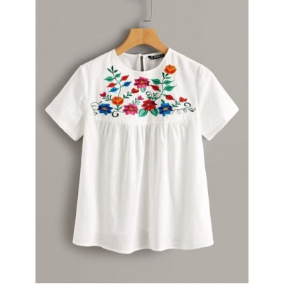 Floral Embroidered Smock Top SZXBGAC