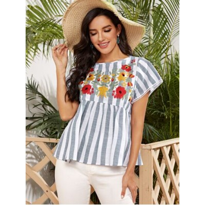 Floral Embroidery Cut-out Back Striped Peplum Top BDLFUUK