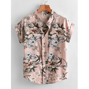 Floral Print Notched Neck Rolled Cuff Blouse  WPGAMGA