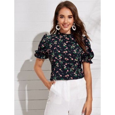 Floral Print Ruffle Cuff Puff Sleeve Top  WTYBVEY