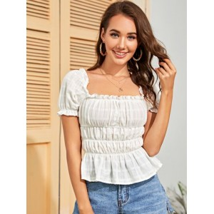 Frill Trim Ruched Bust Peplum Top  RXBMYTN