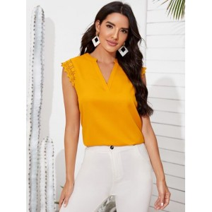 Notch Neck Embroidered Mesh Detail Solid Top  RTBFUUT