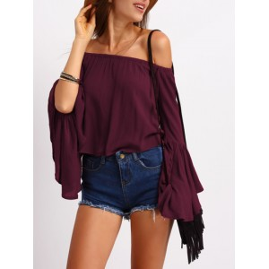 Off-the-Shoulder Long Fluted Sleeve Top  HYNXXZK