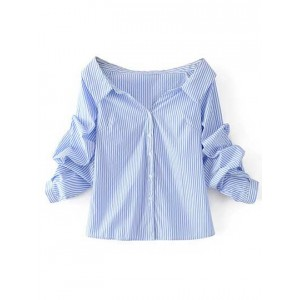 Off-the-Shoulder Striped Buttoned Shirt  OCGLROI