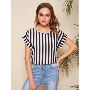 Roll Up Sleeve Striped Print Top  ERMFPYS