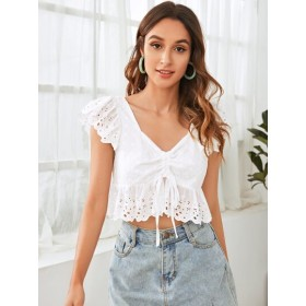 Ruched Drawstring Knot Eyelet Embroidery Peplum Top  WQYQRQL