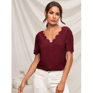 Scallop Trim Buttoned Front Top  AXAFKVZ