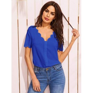 Solid Double V Neck Scalloped Top  YHUBMFY