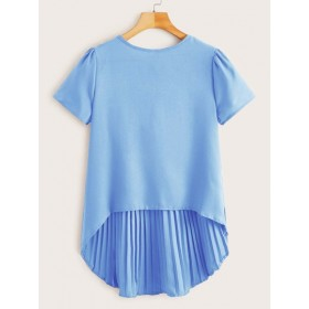 Solid High Low Pleated Blouse  VVROCVK