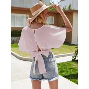 Solid Tie Back Backless Blouse  OESHLRG