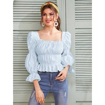 Square Neck Flounce Sleeve Ruched Peplum Blouse  ZSDYHAX