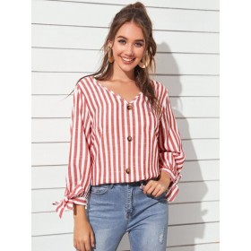 V-neck Knot Cuff Striped Top  IMXAIDG