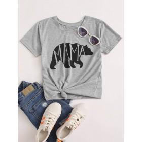 Bear & Letter Graphic Tee  TAIYXWI