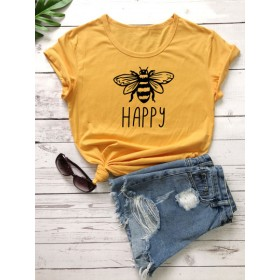 Bee & Letter Graphic Short Sleeve Tee  RZLVHCY