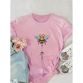 Bee And Letter Graphic Tee  THGSPGX