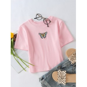 Butterfly Embroidery Rib-Knit Tee  OLPGHWT