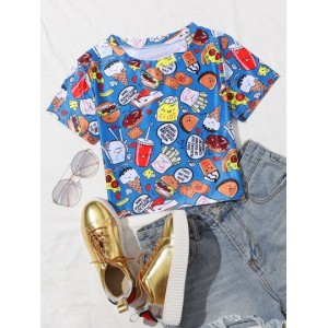 Cartoon And Letter Graphic Tee  EQHVBYN