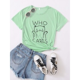 Cat and Letter Graphic Tee  PTUJENJ