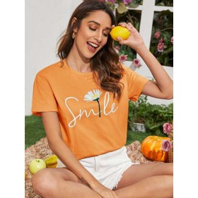 Daisy and Letter Print Tee  MXLTTAE