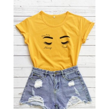 Figure And Letter Graphic Tee  QVCMYXA