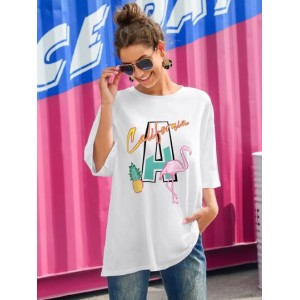 Flamingo & Letter Graphic Oversized Tee  YZPAJCQ
