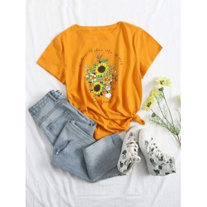 Floral & Slogan Graphic Short Sleeve Tee  OHTJGHD