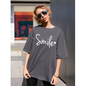 Heart And Letter Graphic Oversized Tee  THRIZUM