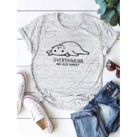 Letter And Cat Graphic Tee  NMXSYTI