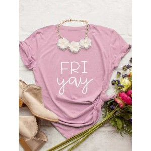 Letter Graphic Short Sleeve Tee Without Necklace  EQQGYUR