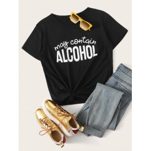 May Contain Alcohol Graphic Tee  WEDRAQY