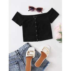 Off Shoulder Button Front Tee  SAQWEAO